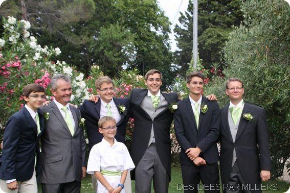 Mariés et enfants d'honneurs - Cortège vert et rose - 5