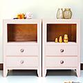 Petit mobilier ... paire de chevets rose poudré *