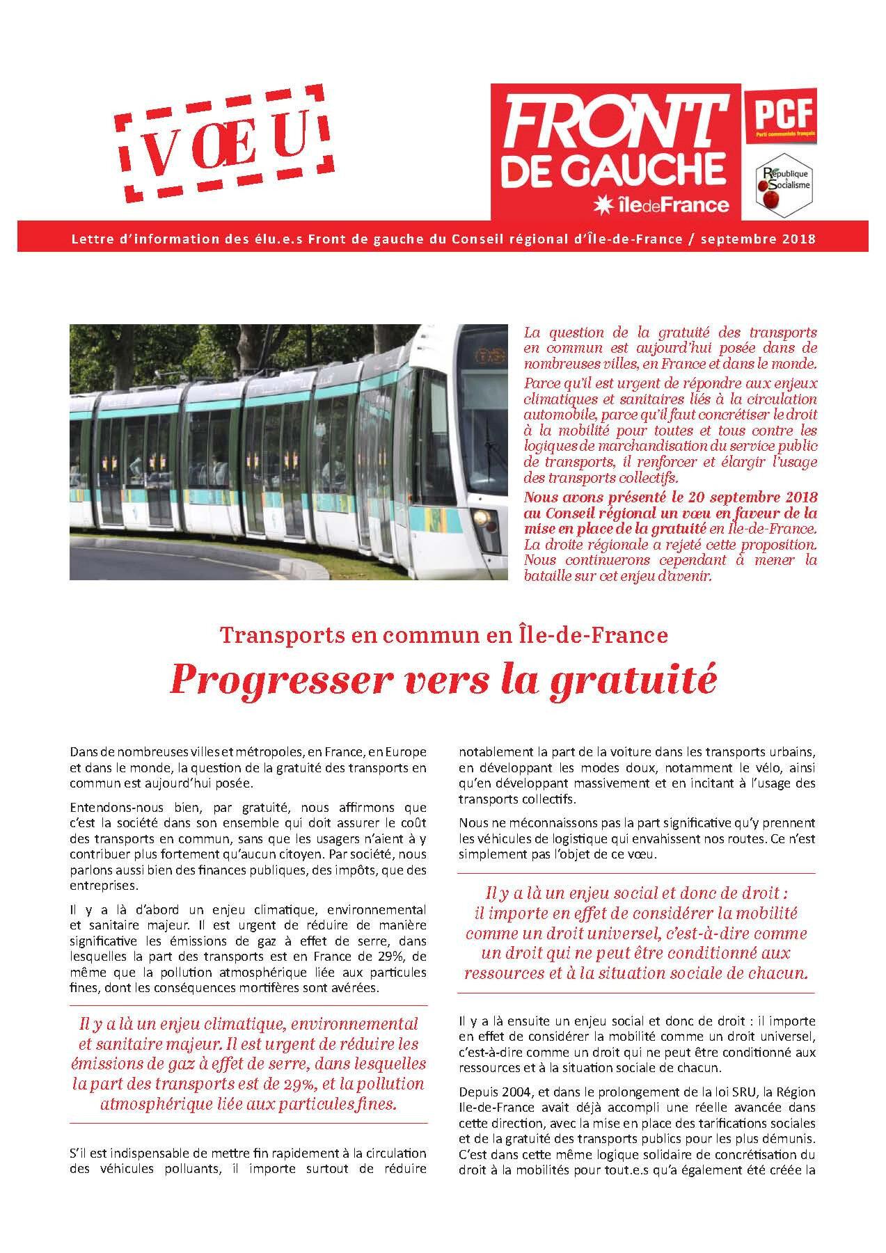 Transports en commun en Île-de-France Progresser vers la gratuité