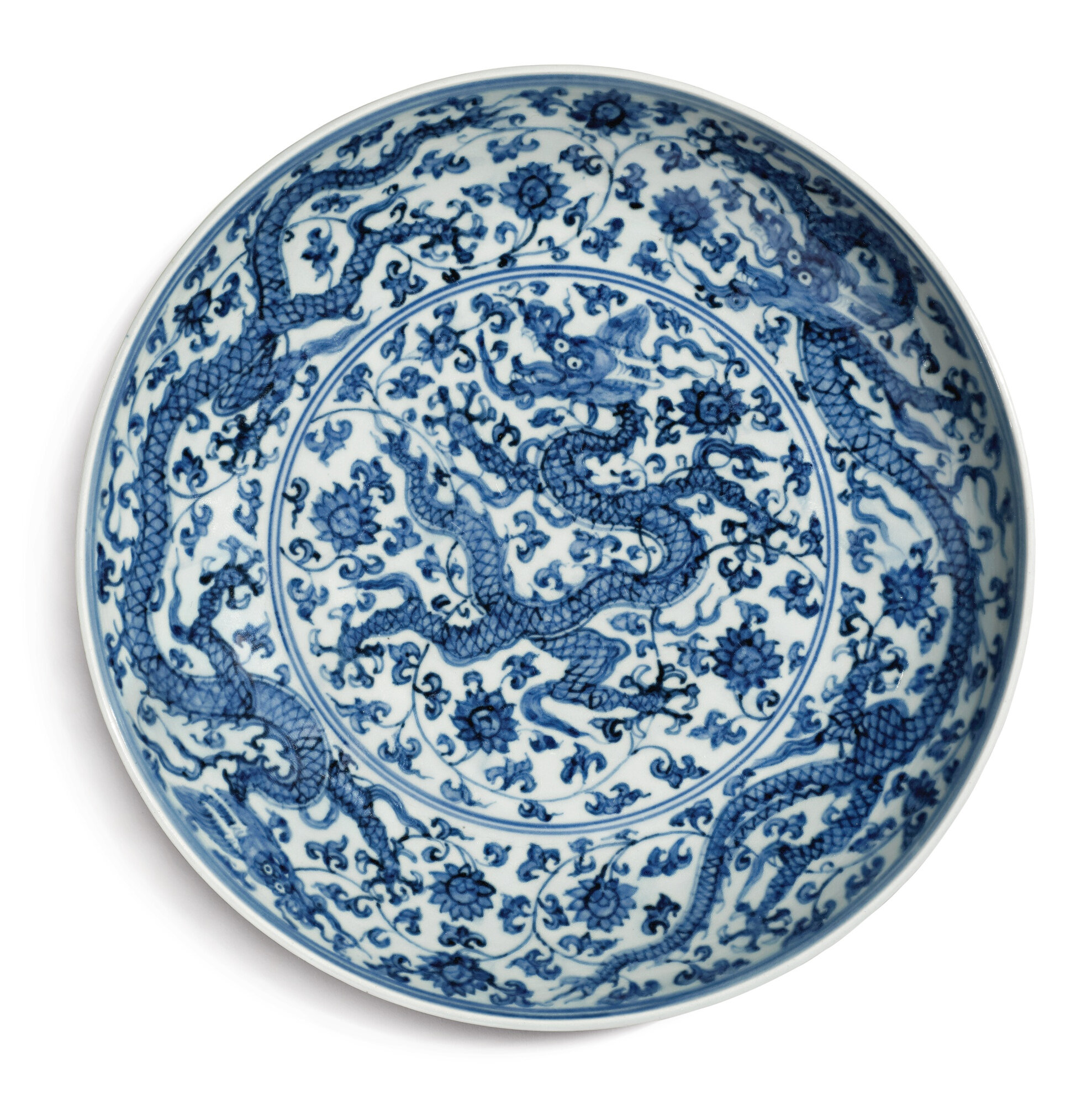 A fine blue and white 'dragon' dish, Zhengde mark and period (1506-1521)