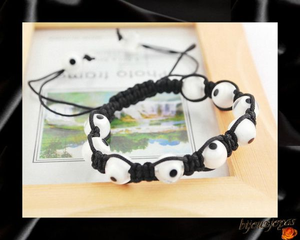 Bracelet Shamballa - 9 perles Verre Blanches Oeil De la Chance