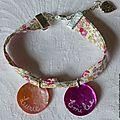 Bracelet sur ruban Eloïse rose 2 médailles en nacre