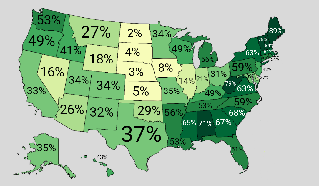 Percentage forest cover in each US state