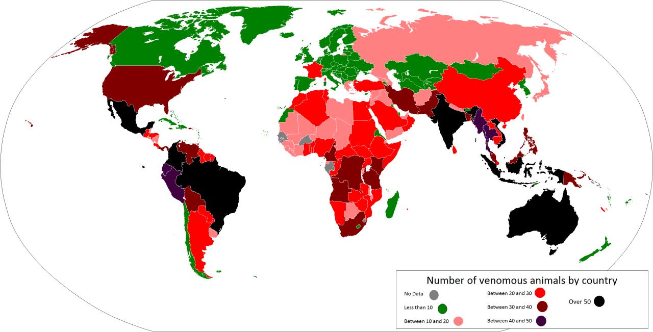 environnement-biodiversité animaux dangereux par pays