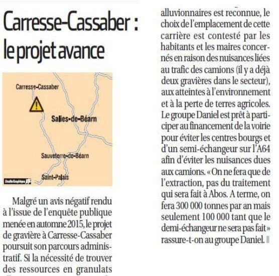 La République des Pyrénées carrières Oloron Carresse Cassaber