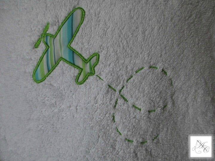 Appliqué avion, rayures anis