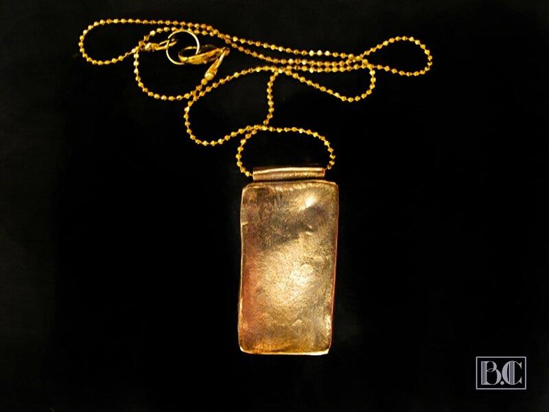 Pendentif rectangle 3 abalone bleu-or bronze doré verso