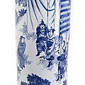 A rare blue and white 'rolwagen' with a scene from the romance of the three kingdoms, china, chongzhen period