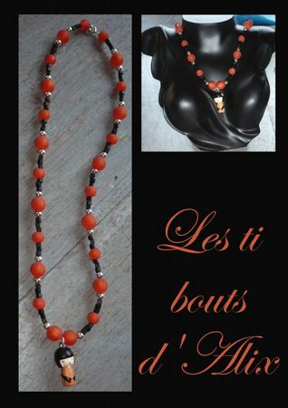 collier kokeshi orange