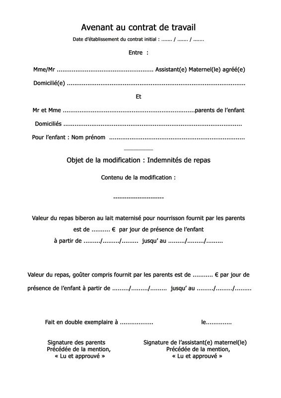 8c62a304ffc AVENANT AU CONTRAT DE TRAVAIL - Les Petites Kanailles