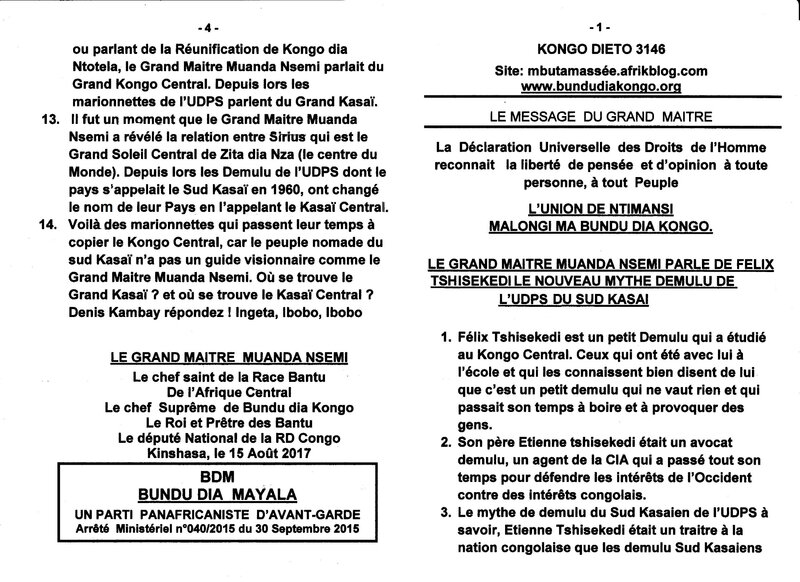 LE GRAND MAITRE MUANDA NSEMI PARLE DE FELIX TSHISEKEDI LE NOUVEAU MYTHE DEMULU DE L'UDPS DU SUD KASAI a