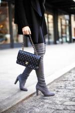 Suede grey OTK boots Stuart Weitzman + Chanel bag