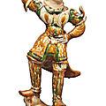 A sancai-glazed pottery figure of a lokapala, tang dynasty (618-907)