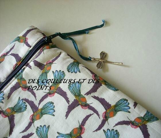cartable aux colibris détail fermeture BIS
