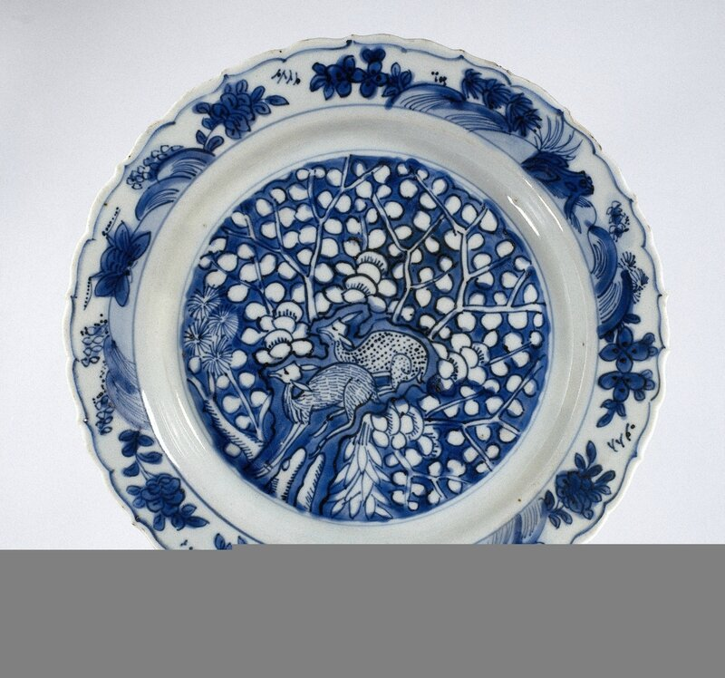 Blue and white plate with two deers, Wanli period (1573-1619), 1580 - 1620