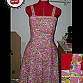Robe Pin Up tissu mexican skulls pink T38 en stock