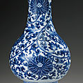 A blue and white pear-shaped 'lotus' vase, qing dynasty, kangxi period (1662-1722)