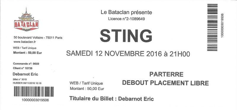 2016 11 12 Sting Bataclan Billet