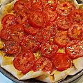 Tarte fine à la tomate, feuilles de brick
