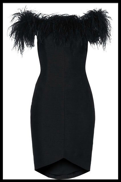 topshop kate moss robe noire plumes
