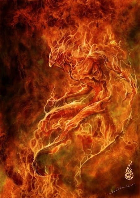 Salamandre élémental esprit du feu