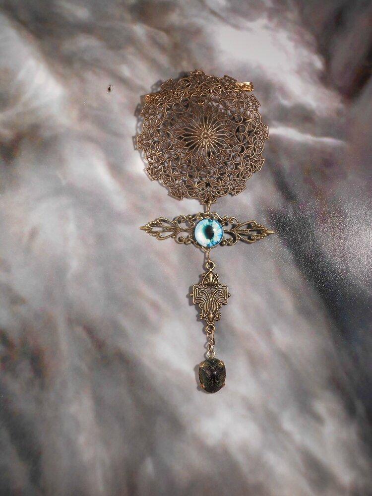 11 Broche vintage oeil de dragon à l'insecte - vendues