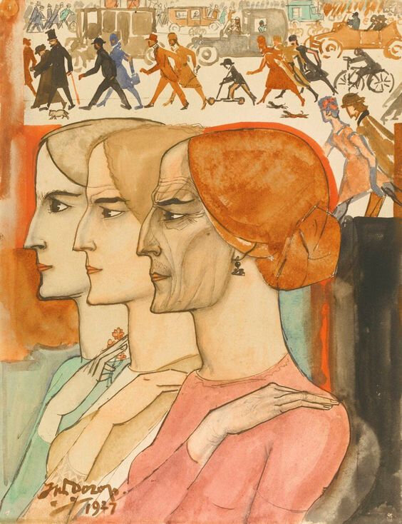 JanToorop Three women in profile wih a street