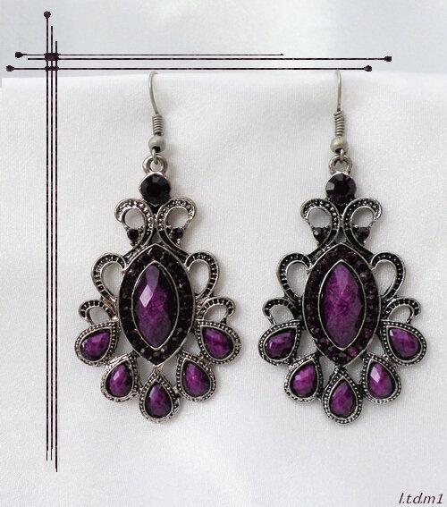 Boucles d'Oreilles Style Tibétain Sherab Perle Strass Purple Argent du Tibet