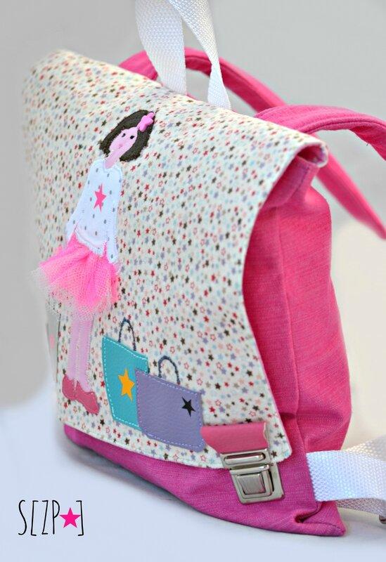 sac à dos enfant rose personnalisé, petite fille en tuto fluo