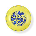 A yellow-ground underglaze-blue 'nine peaches' dish, seal mark and period of qianlong (1736-1795)