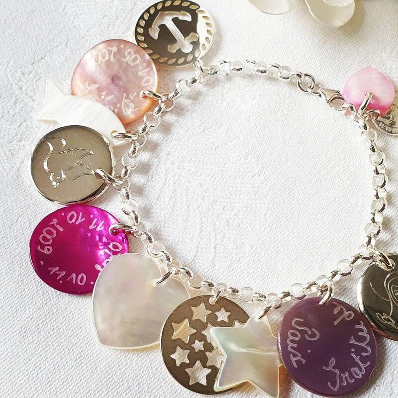 Bracelet personnalisé sur chaîne argent massif classique