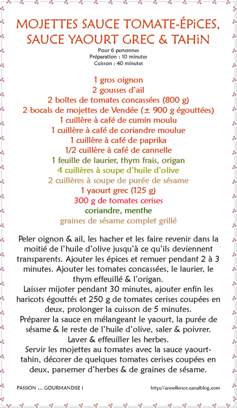 Mojettes tomate-épices, sauce yaourt-tahin_fiche