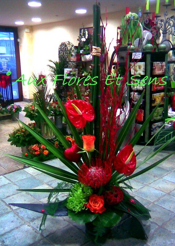Saint Valentin Anthurium rouge et Bouleau rouge