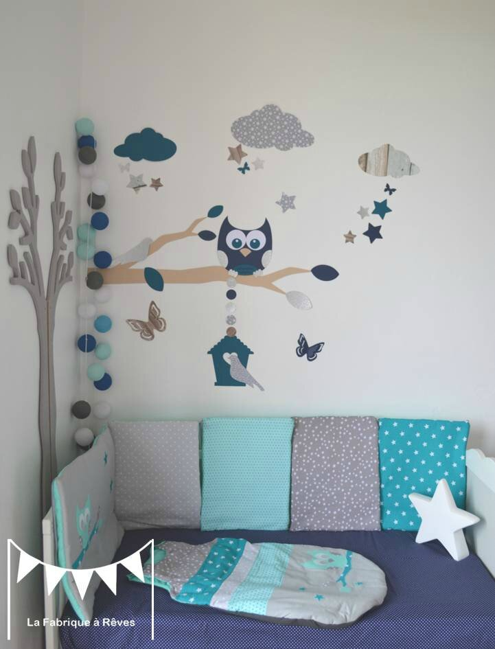 stickers d coration chambre enfant gar on b b branche cage oiseau hibou oiseaux toiles bleu. Black Bedroom Furniture Sets. Home Design Ideas