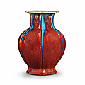 a flambé-glazed 'pomegranate' vase, qianlong seal mark and of the period (1736-1795)
