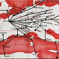 Carte de 1934 du réseau air france européen, et les anciennes brochures d'air france