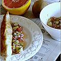 Condiment kiwi-pamplemousse-oignon rouge