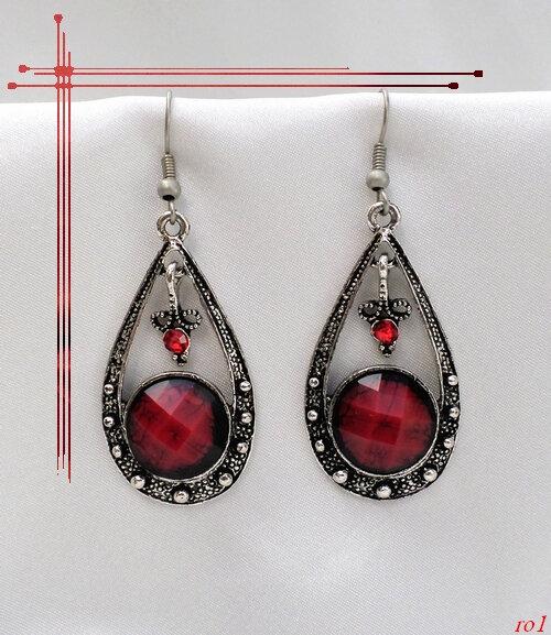 Boucles d'oreilles Style Tibétain Bohaï Perle Strass Rouge Argent du Tibet