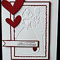Carte de félicitations de mariage en rouge et blanc, avec couple embossé, coeurs et broderie à la main