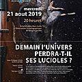 Conférence du 21 août 2019 à 20 h amphithéâtre du laboratoire arago