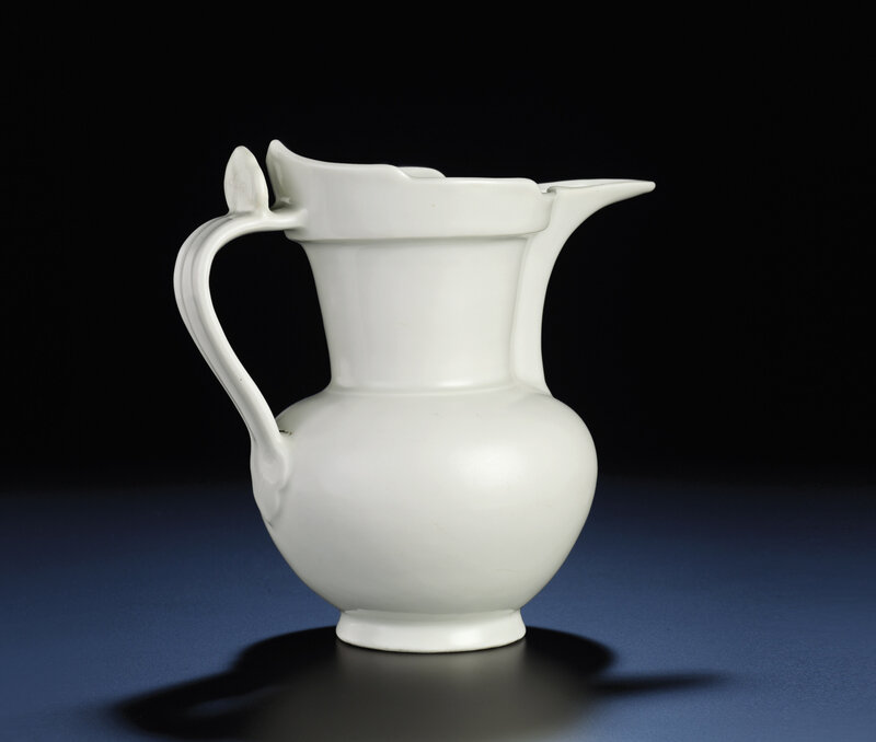 A rare early Ming tianbai-glazed monk's cap ewer, sengmaohu, Yongle period (1403-1424)