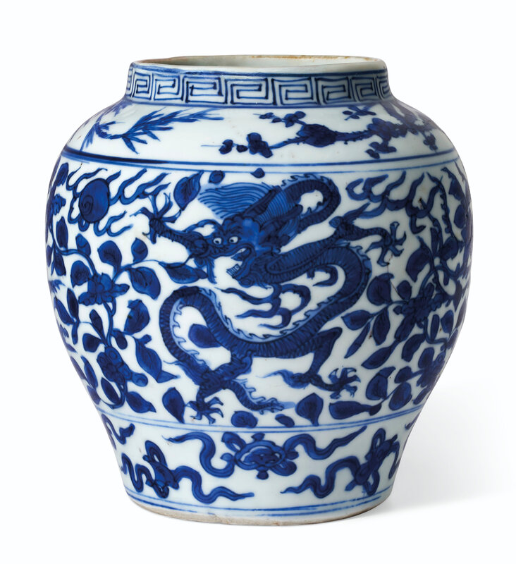 A small blue and white ovoid 'dragon and phoenix' jar Wanli six-character mark within a double circle and of the period (1573-1619)