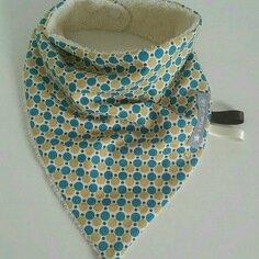 Bavoir Bandana Vintage ronds bleus et jaunes