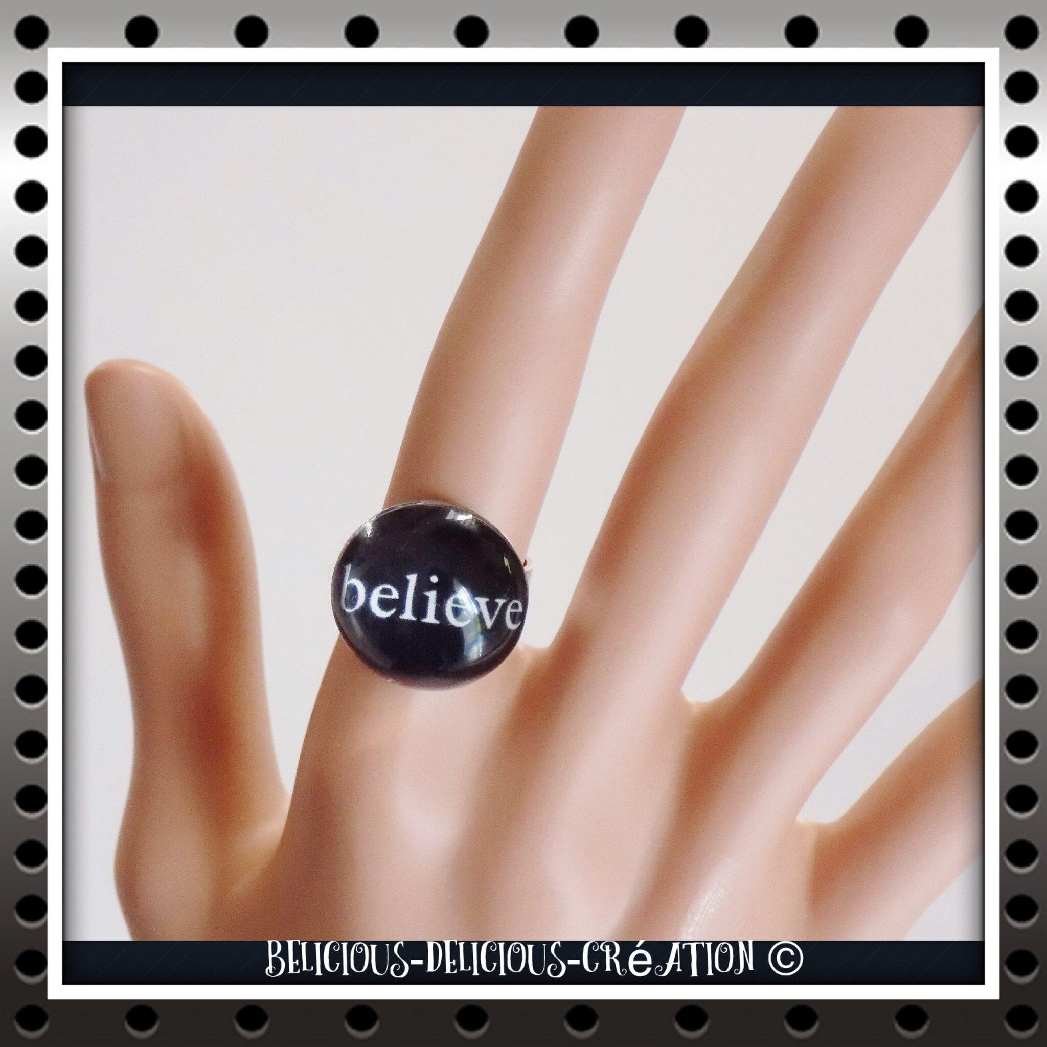 Original Bague !! BELIEVE !! noir En Verre et Metal Bague anneau réglable BELICIOUS-DELICIOUS CREATION