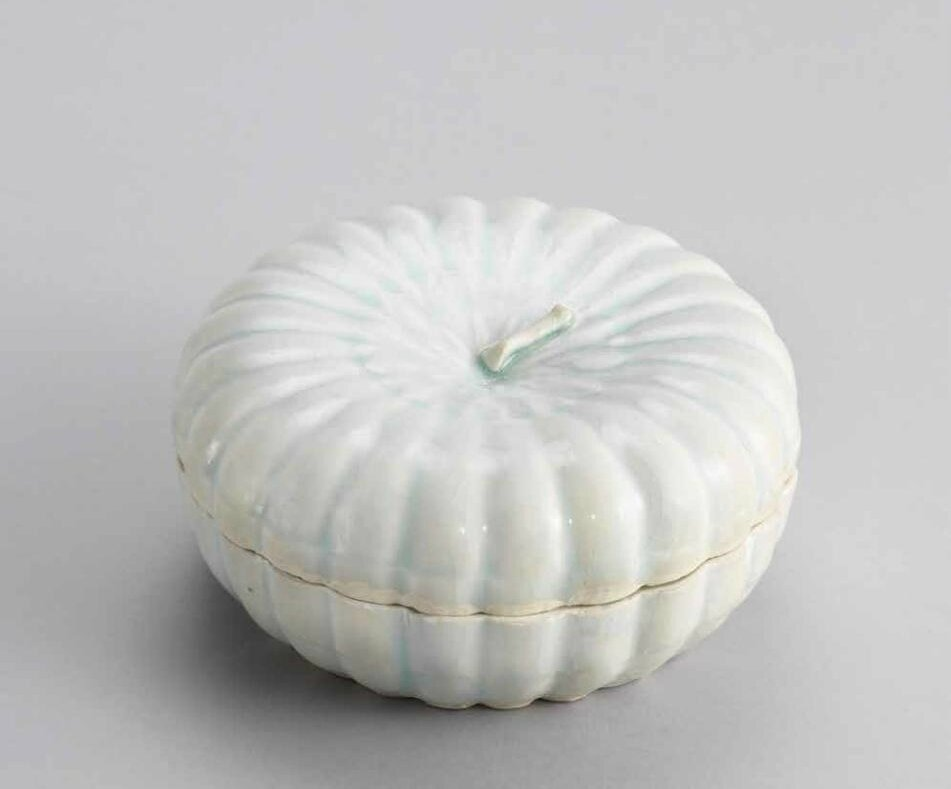 A moulded qingbai melon-form box and cover, Southern Song dynasty (1127-1279)