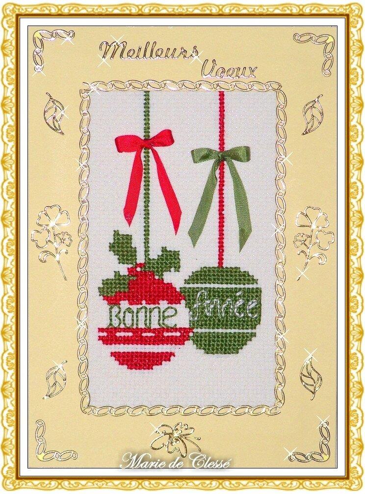 Carte Vœux 2013 Boules brodées et nœuds rubans