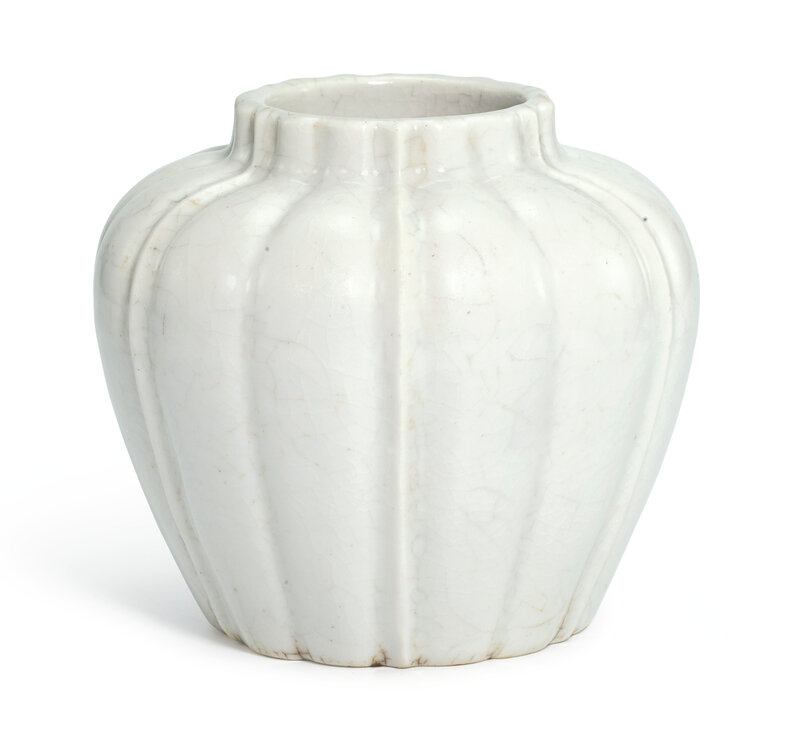 A white-glazed lobed jar, early Ming dynasty