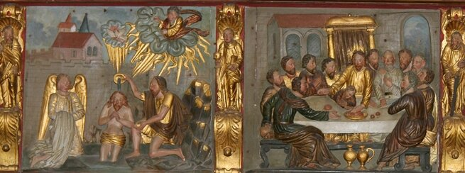 Baptême et Cène, bois polychrome de Saint-Martin à Sées