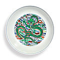 A doucai 'dragon and phoenix' dish, kangxi mark and period (1662-1722)