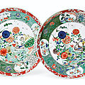 A large pair of famille verte 'peacock' dishes, kangxi period (1662-1722)